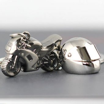Motorcycle and Helmet Keychain