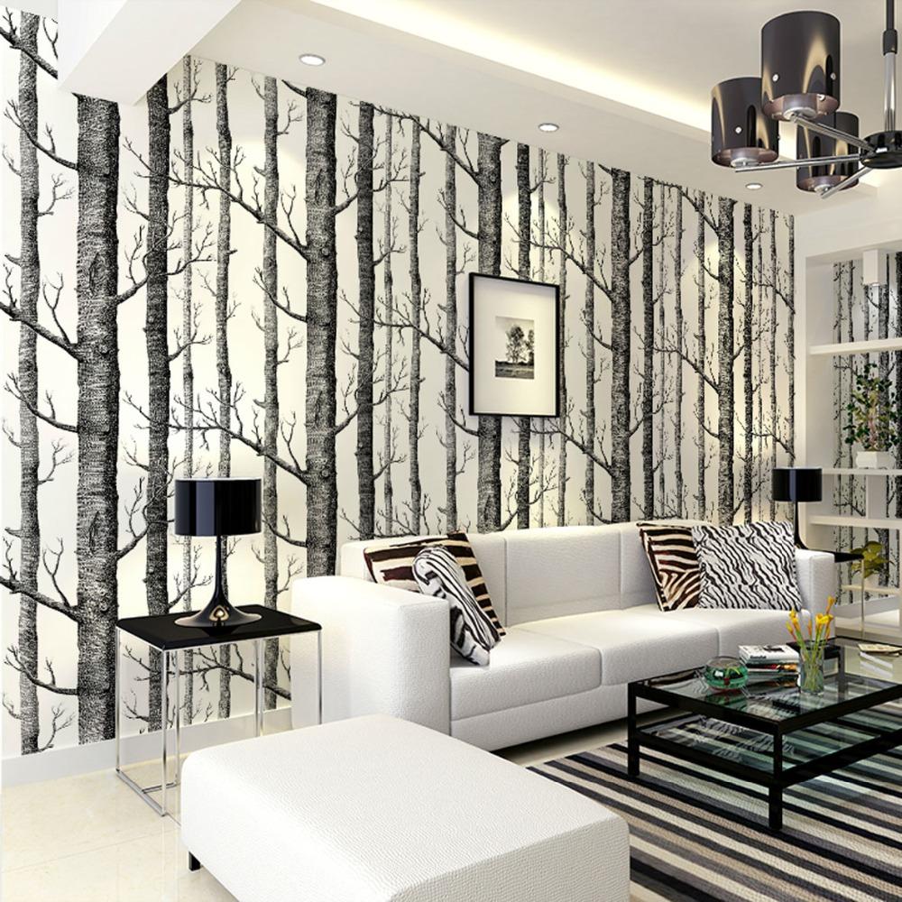 Birch Tree Patterned Wallpaper Uno Company