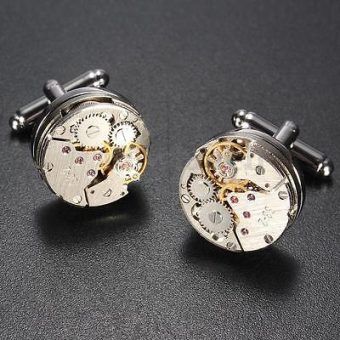 Deluxe Steampunk Watch Movement Cufflinks Vintage Mens Shirt Wedding Cuff Links