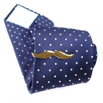 Golden Mustache Tie Clip