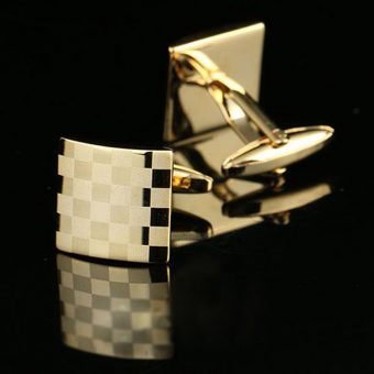 Gold Checkerboard Cufflinks