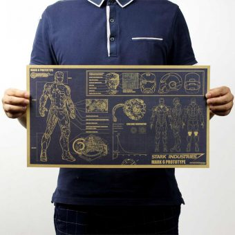 Vintage Iron Man Blueprint Poster