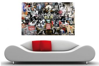 Banksy Collage on Canvas 36×24