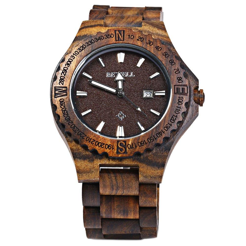 Weekly Calendar Quartz : Bewell wooden calendar quartz wrist watch uno company