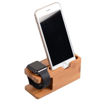 Bamboo iPhone and Apple Watch Charging Station