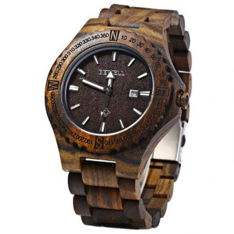 BEWELL Wooden Calendar Quartz Wrist Watch