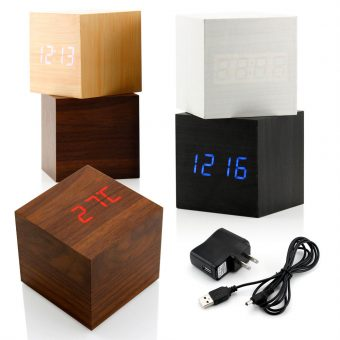 Digital LED Wood Grain Clock