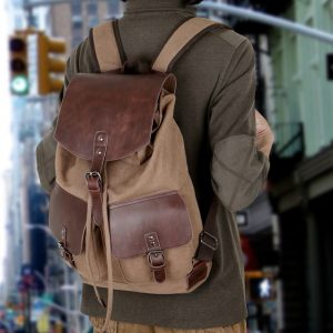 vintage-leather-canvas-backpack